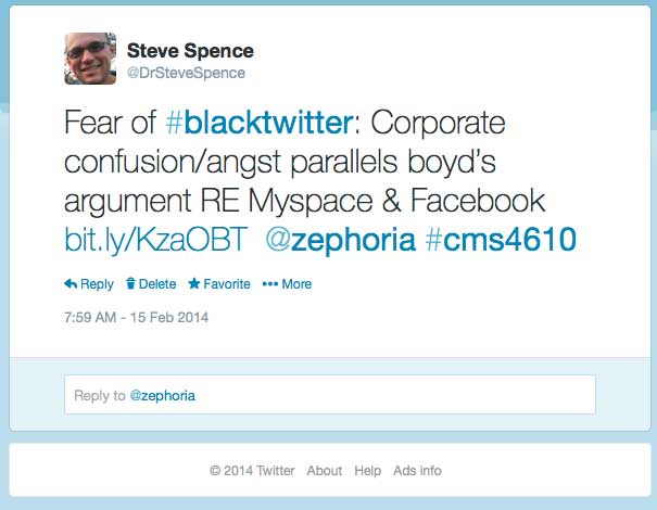Sample tweet that links a news story to our class material.