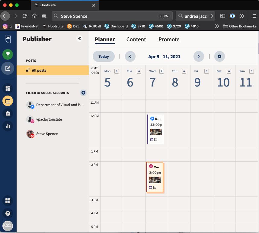 Hootsuite Scheduling example screen shot